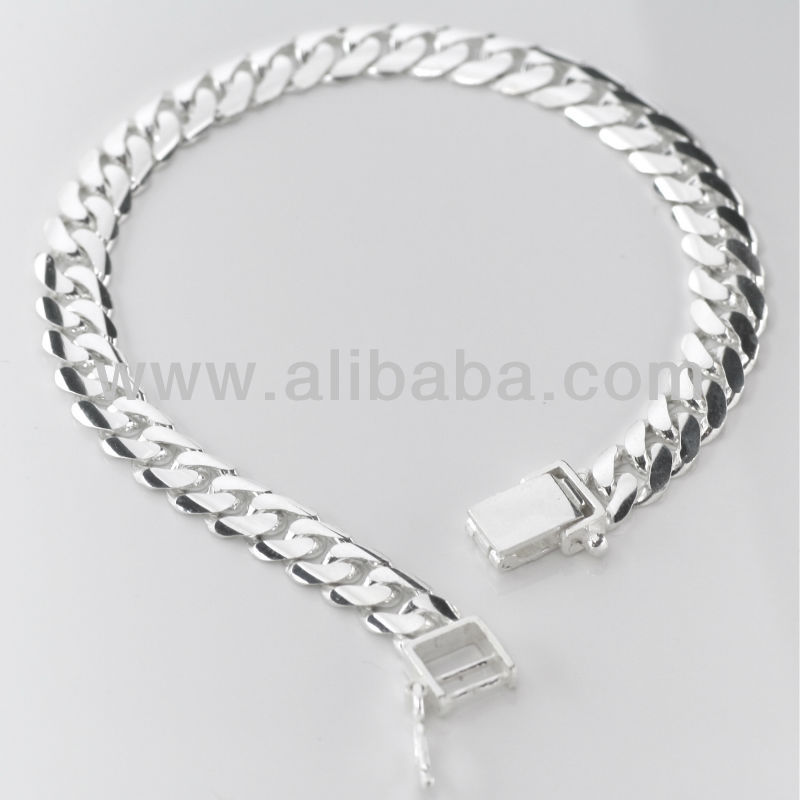 925 Sterling Silver Flat Curb Bracelet Mens Product On Alibaba