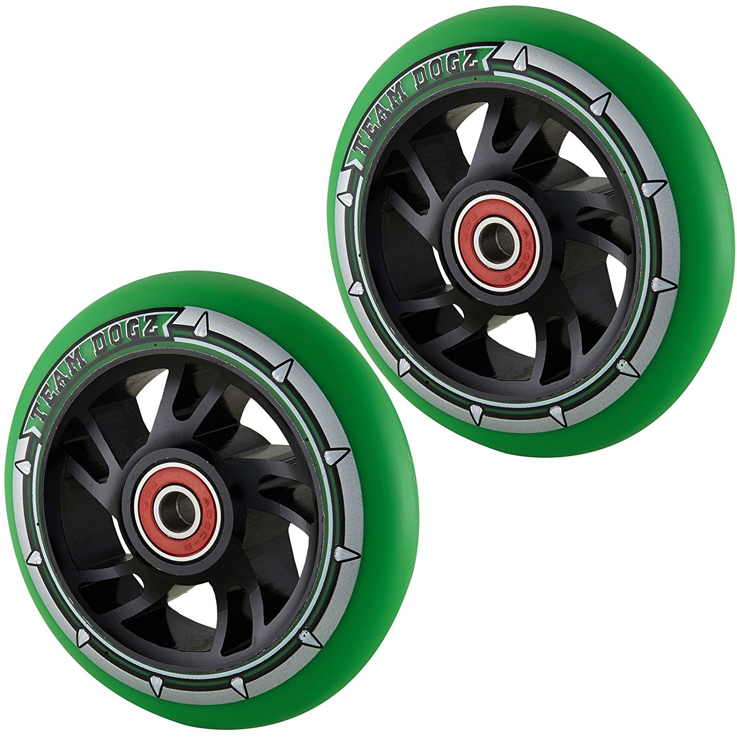 Team Dogz 100mm Swirl Scooter Wheels - Black Cores Green Tyres (Pair)