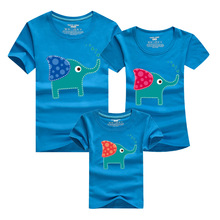 New Family Look Cartoon elephant T Shirts 9 Colors Summer Family Matching Clothes Father mother son