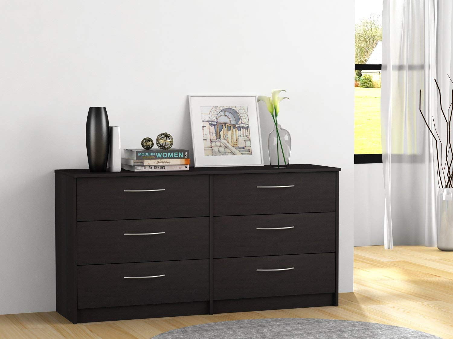 Elegant 6-Drawer Dresser with Metal Ball Bearing Slides, Sturdy and Long Lasting Engineered Wood, Metal Handles with Brushed Nickel Finish, Available in Espresso, Bank Alder and Walnut Laminate