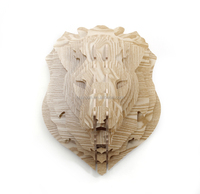 DIY 3D Wooden Puzzle Lion Decor Fake Animal Heads Faux Lion Head Wall Decor Carved Wood Art