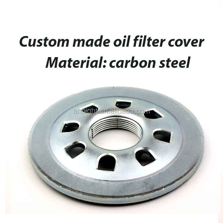 Custom made carbon steel deep drawn oil filter cover