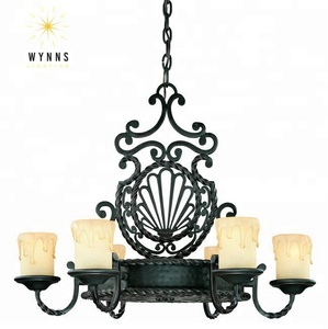 UL approval iron chandelier with cream glass candle shade for home/living room/villa/hotel/shopping mall/restaurant decoration