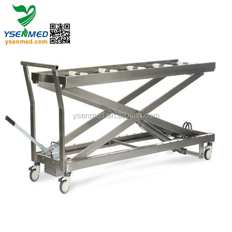 YSSJT-1B Cheap Mobile Stainless Steel Mortuary Dead Body Corpses Hydraulic Lifter Trolley Price