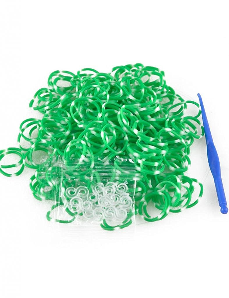185-200pcs Polka Dot Band Rubber Loom Rainbow Color +S Clps 15pcs+Loom Tool 1 Piece Rubber Color Green