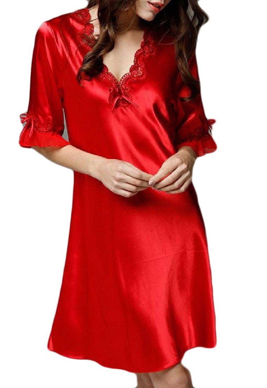 666dcfad5d Get Quotations · Zimaes-Women Stitching Faux Silk Solid Lace PJS Pajama  Sleepwear