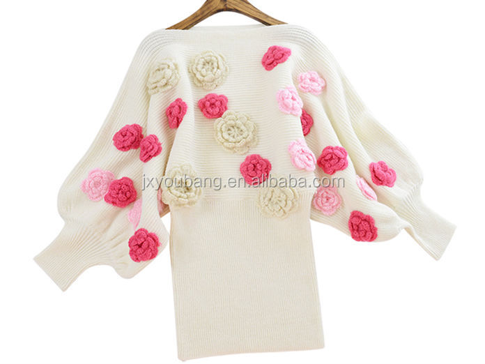 Women Sweater embroidered rose round neck Puff sleeve lady Knitted cherrykeke dress