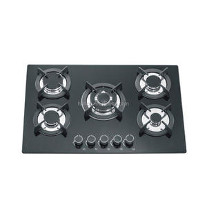 Black tempered glass cooktop best flame 5 burners gas stove for sale/built in gas hob