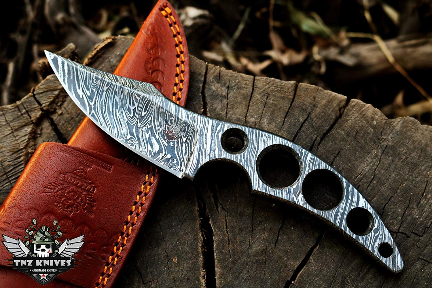 TNZ-219 Damascus Knife 8.2″ Long 4″Blade 11oz Damascus steel Hunting knife Damascus Blank Blade Skinner Outdoor Knife With Leather Cover TNZ Hand Made Damascus knives