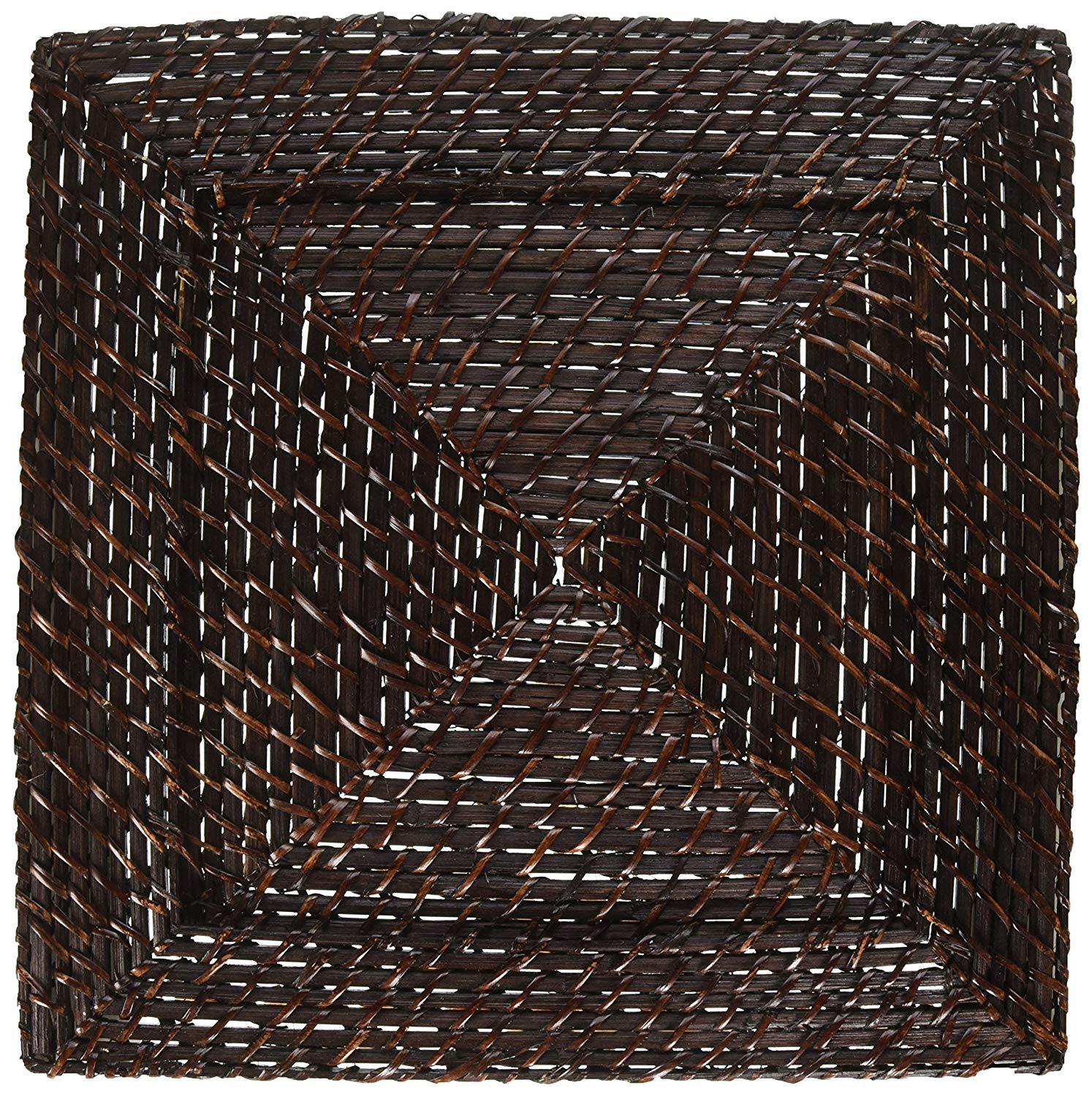 Entertaining with Caspari Brown Rattan Lunch /& Cocktail Napkin Holders Bundle of 2