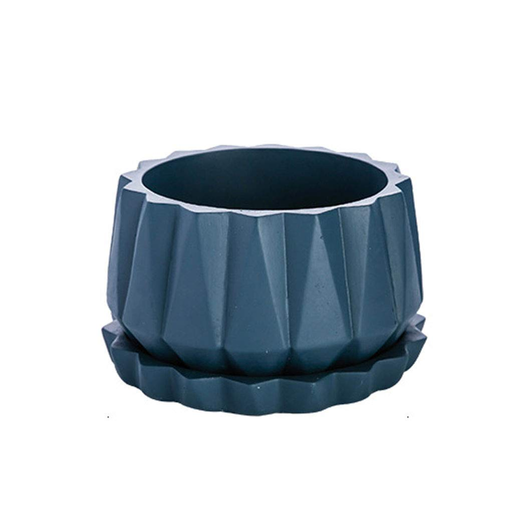CSQ Three-Color Cement Flower Pot - Origami Pattern Oval Flower Pot with Tray Blue Gray Black Balcony Small Flower Pot On The Table Large Flower Pot Flower Stand (Color : Blue, Size : 1911.5cm)
