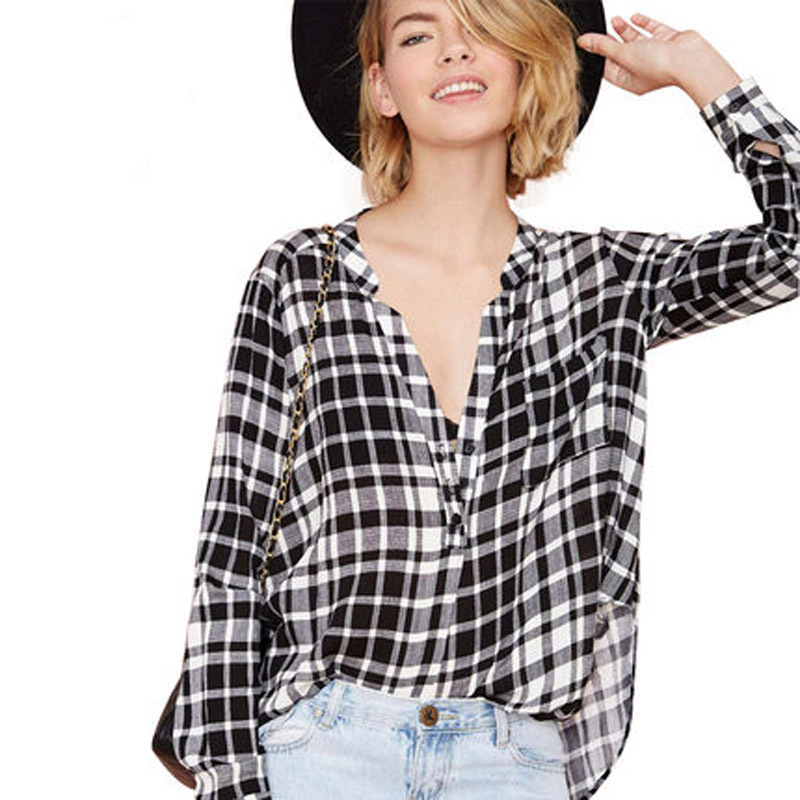 Europe Black And White Checkered Shirts Fashion Boyfriend Loose V Neck Curved Hem Checkerboard Blouse Hdy8172g