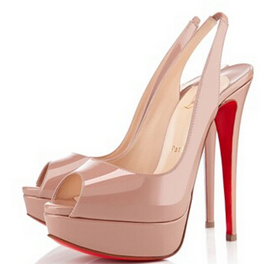 2015 New Brand Women Pumps Sexy Platform Genuine Leather 14 cm High Heels Fish Head Red Bottom Pumps Shoes Plus Size 35-41