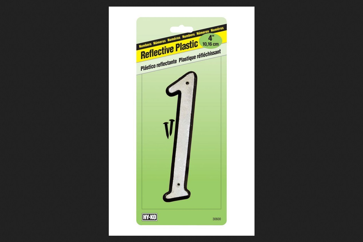 """Hy-Ko 30601 4"""" White Plastic Reflective #1 House Number"""