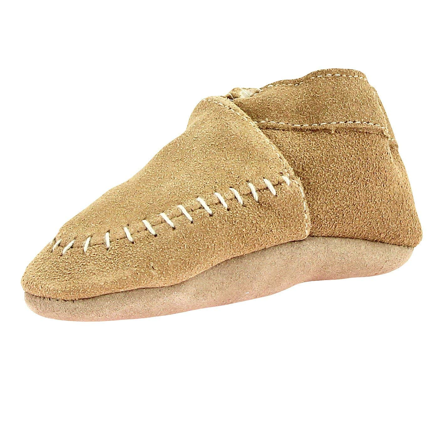 6f962d2bcf7 Get Quotations · Robeez Unisex Boy or Girl Beige Suede Moccasin Crib Shoes  With Sherpa Lining