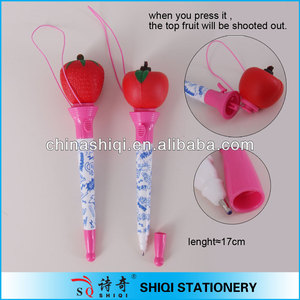 heat transfer printing ball pen with top fancy fruit toy boxing pen