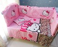 Promotion 6PCS Hello Kitty baby bedding set Customize baby bed around set unpick and wash bumpers