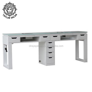 Double nail table wholesale manicure tables for nails beauty salon furniture