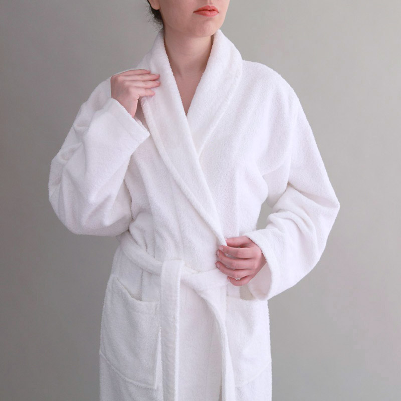 Custom Logo 100% Cotton Hotel White Men Terry Bathrobe