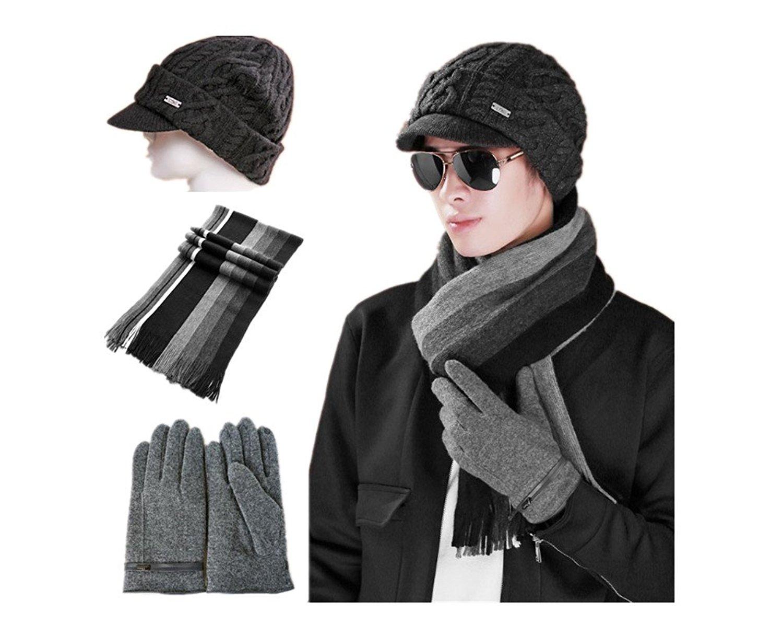 3c7974230ce Get Quotations · 2015 Winter Men Wool Warm Woolen Scarves Hat gloves set