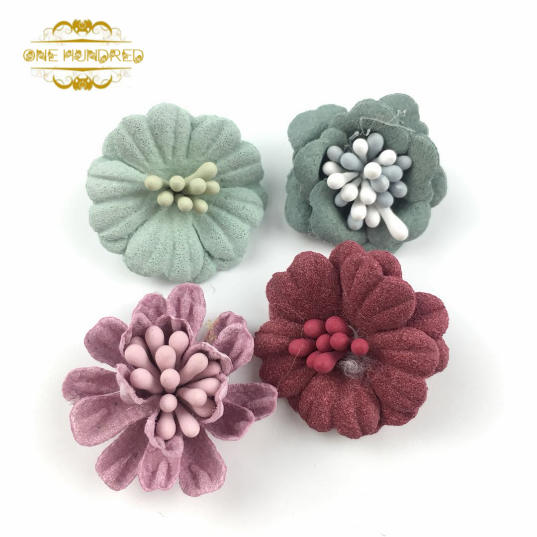 DIY handmade soft leather fabric flower hair accessories