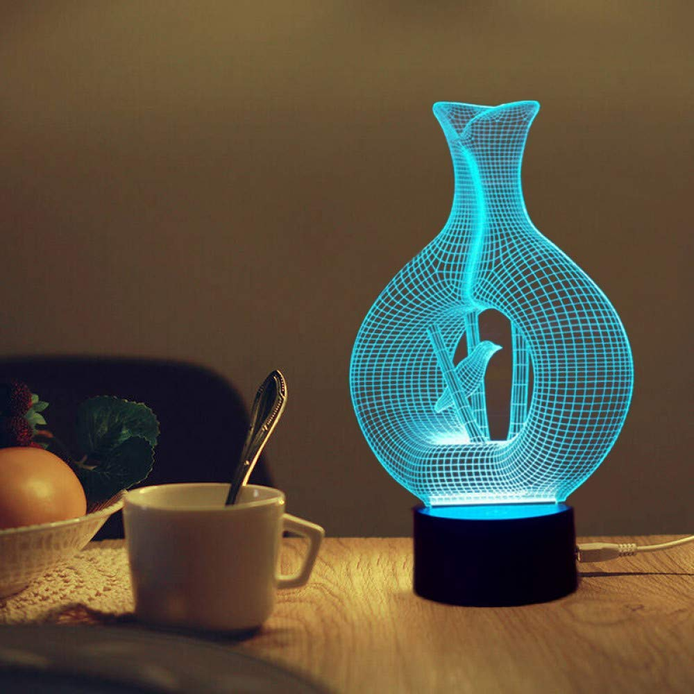 XingYao 3D Led Night Light Bird in Cage Model 7 Colors 5V USB Led Desk Lamp Touch Sensor Night Lights Table Lamp for Bedroom,Changeable