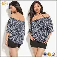 Wholesale clothing manufacturer Off collar short sleeve blouse India Casual Affair crinkled blouse for fat women plus size XXXL