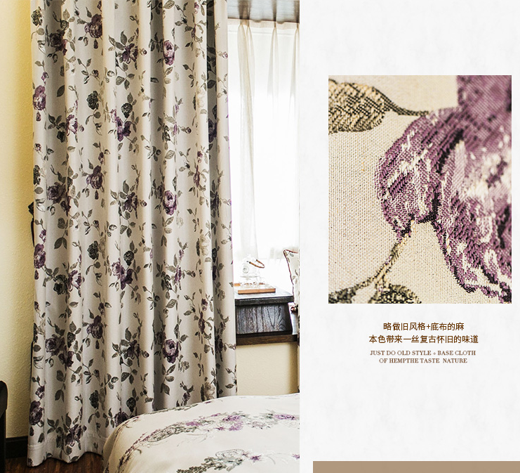 Europe style purple linen jacquard curtain and blinds turkish elegant fashion girls curtain cafe made in china online