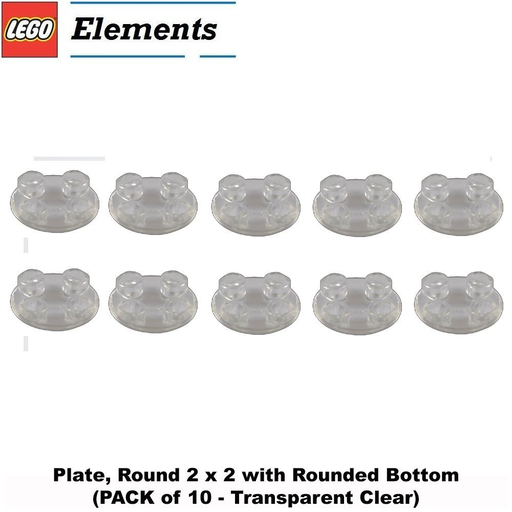 Lego Parts: Plate, Round 2 x 2 with Rounded Bottom (PACK of 10 - Transparent Clear)