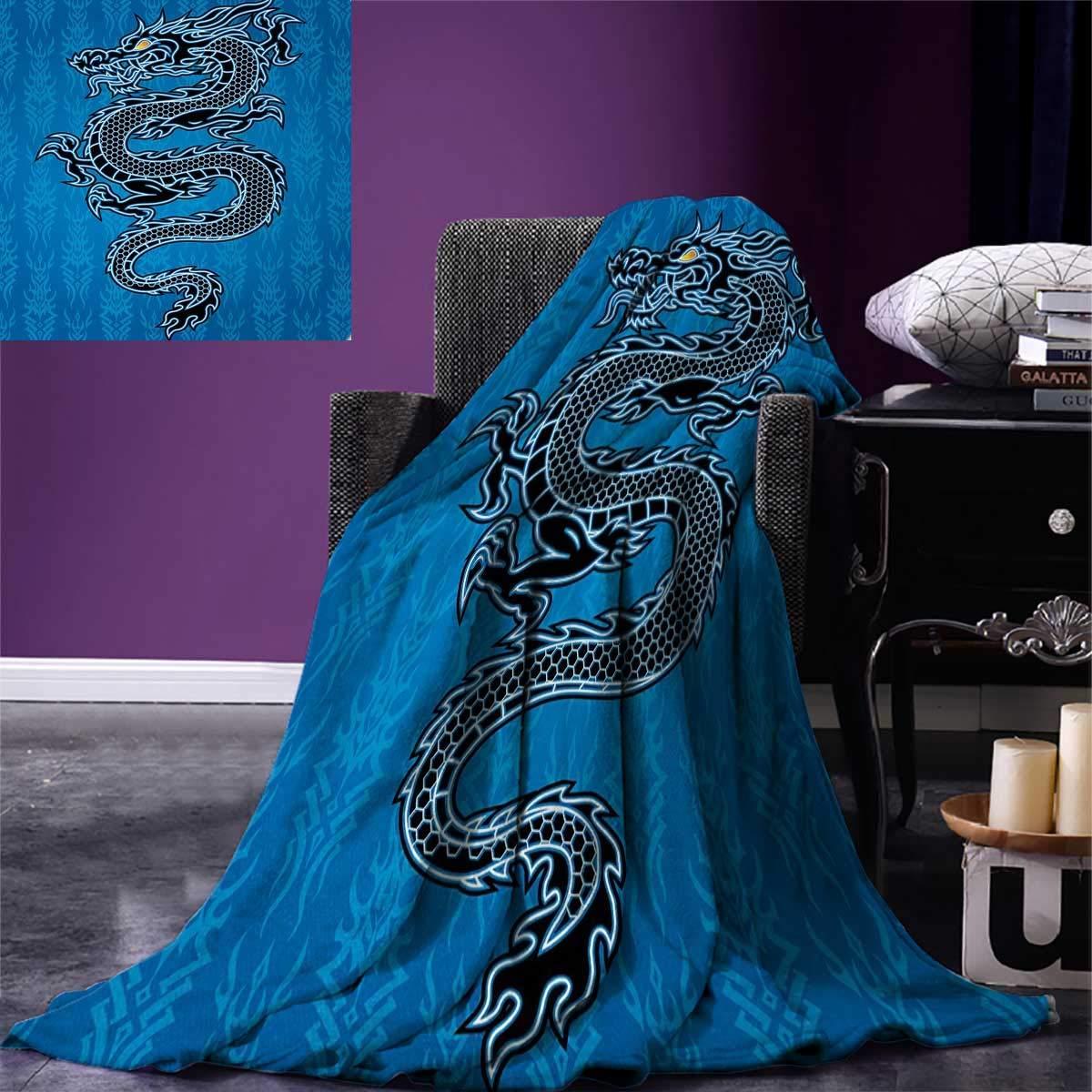"""Anniutwo Japanese Dragon Travel Throw Blanket Black Dragon on Blue Tribal Background Year The Dragon Themed Art Velvet Plush Throw Blanket 60""""x50"""" Blue Black White"""