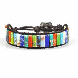 Creative Handmade Woven Leather Bohemian Emperor Stone Tube Beads Bracelet Vintage Natural Stone Yoga 7 Chakra Bracelet