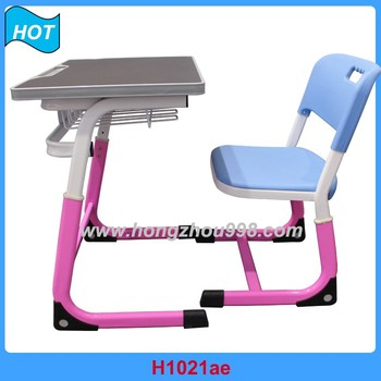 Modern Pink Student Desk Chair Adjustable Trapezoid Student Table And Chair  Combo
