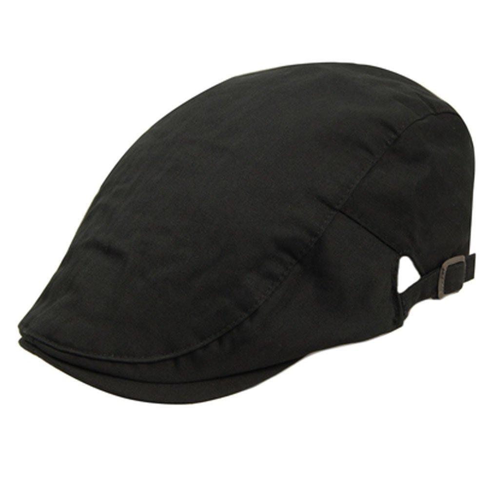 d5b5e58b Get Quotations · Black Cotton Flat Cap Sports Hats Cabbie Hat Driver  Hunting Hat