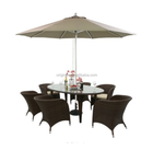 Coffee shop outdoor sitting chair and umbrella hole table poly rattan dining set room furniture