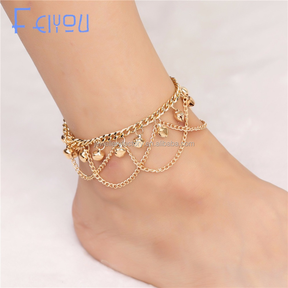 Women Gril Tassel Chain Bells Sound Gold Metal Chain Anklet Ankle Bracelet Foot Chain Jewelry Beach Anklet