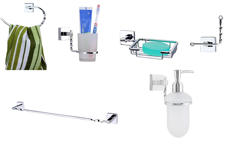 KRM Topaz Towel Ring + Towel Rod + Soap Dish+ Tumbler Holder+ Robe Hook+ Soap Dispenser- Pure Brass
