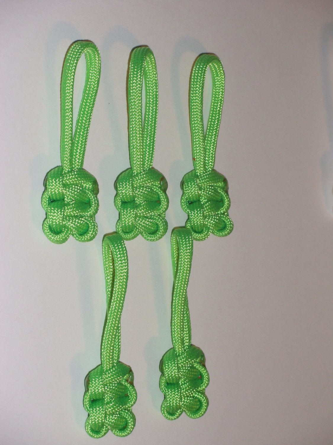 RedVex Paracord Zipper Pulls / Lanyards - Lot of 5 - ~2.5 - Lime Green