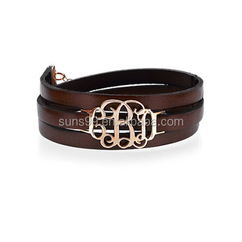 Genuine Leather Band Bracelet Custom Design Unique Wrap Around Monogram