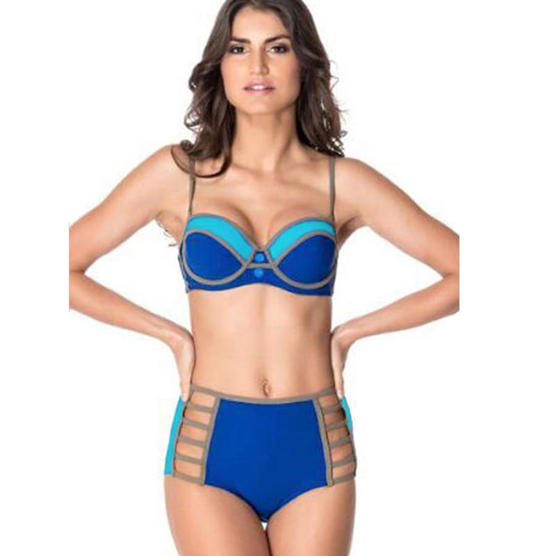 78a1be6ad6173 High Waisted Swimwear Women Bikini Brazilian Push Up Brazilian Swimsuit  Bottoms Halter Bandeau Bikinis Set Bandage Swim Suit