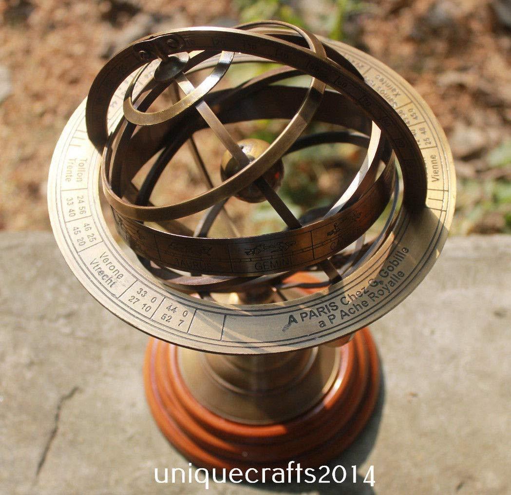 Shaheera Nautical Vintage Maritime Nautical Brass Sphere Astrolabe Armillary Globe Ship Astrolabe