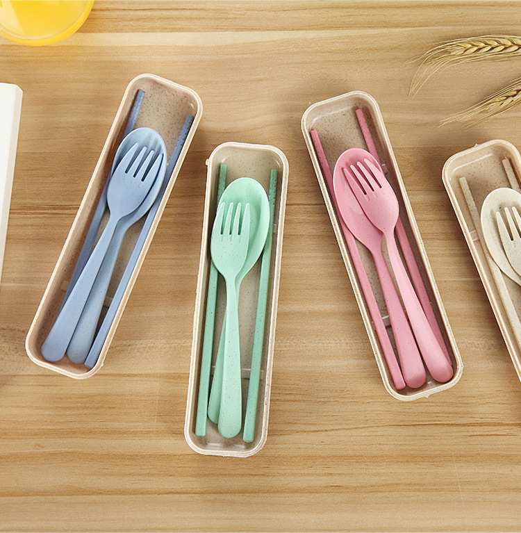 Hot-selling  travel picnic  forks spoons and chopsticks three-piece set tableware