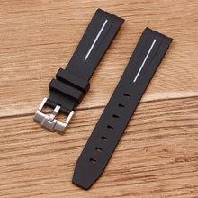 Аксессуары для часов, применимые к сериям из натурального каучука, для дайвинга, с пряжкой, черный GMT, зеленый ремешок для воды 20/21 мм, мужской(Китай)