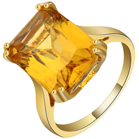 Yiwu Cheap wholesale square big stone yellow color rings for women zircon gift jewelry wedding ring 2018