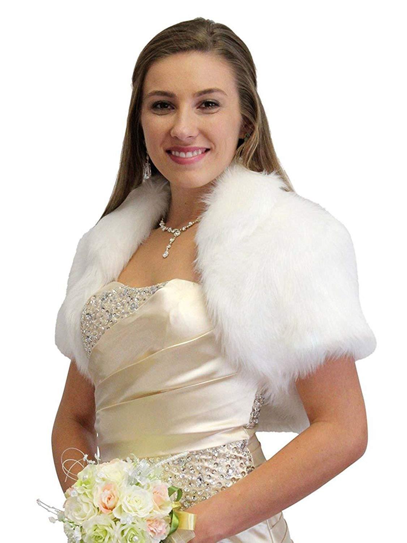 42c037d1f6553 Get Quotations · Tion Design ® Bridal Shrug, White Faux Fur Bolero Jacket, Wedding  Fur Jacket