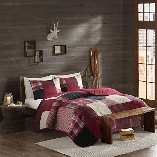 3 Piece Southwest Cabin Black Cream Red Plaid Quilt Full Queen Set, Classic Madras Plaid Bedding Lodge Hunting Themed Tartan Patchwork Design Lumberjack Pattern Cottage, Cotton