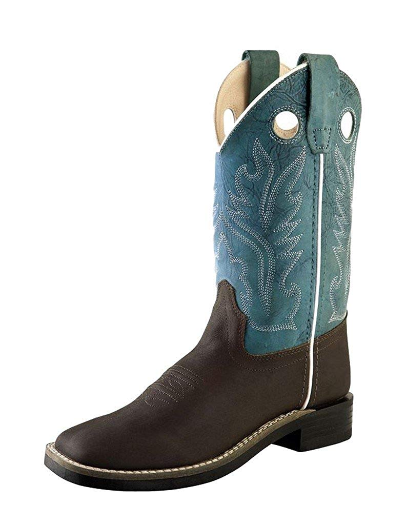 Get Quotations Old West Blue Childrens Boys Leather Broad Square Toe Cowboy Boots 9 5 D