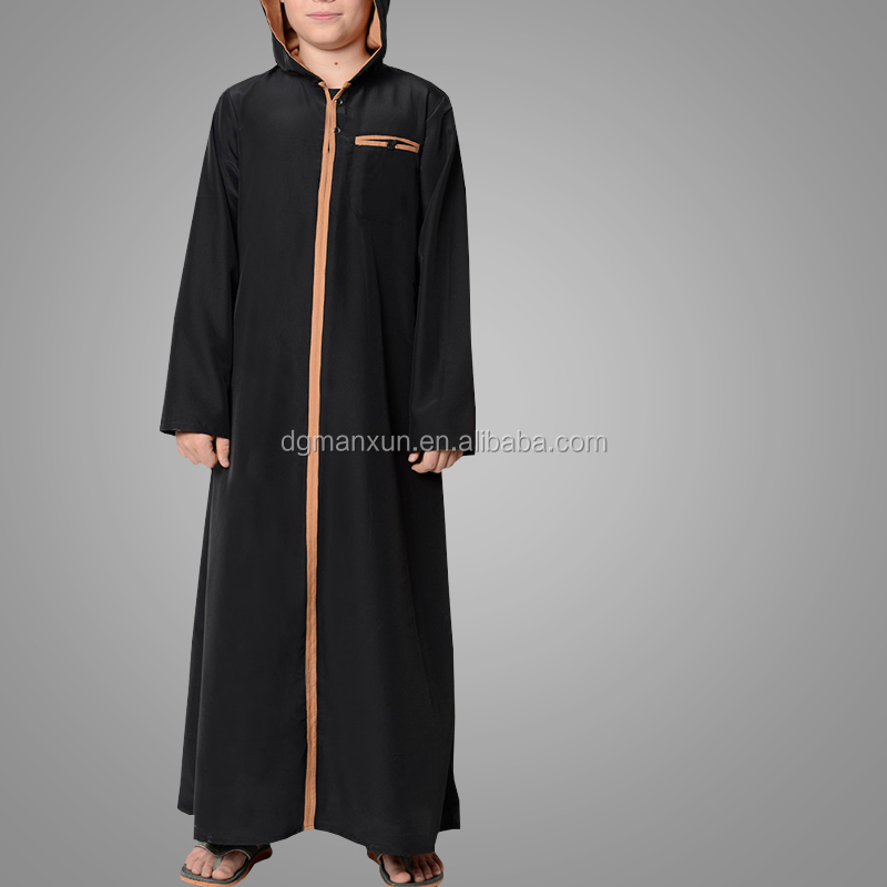 Cool Guys Hooded Kashibo Dish Dash Thobe for Boys Fashion Modern Jubba Islamic Clothing
