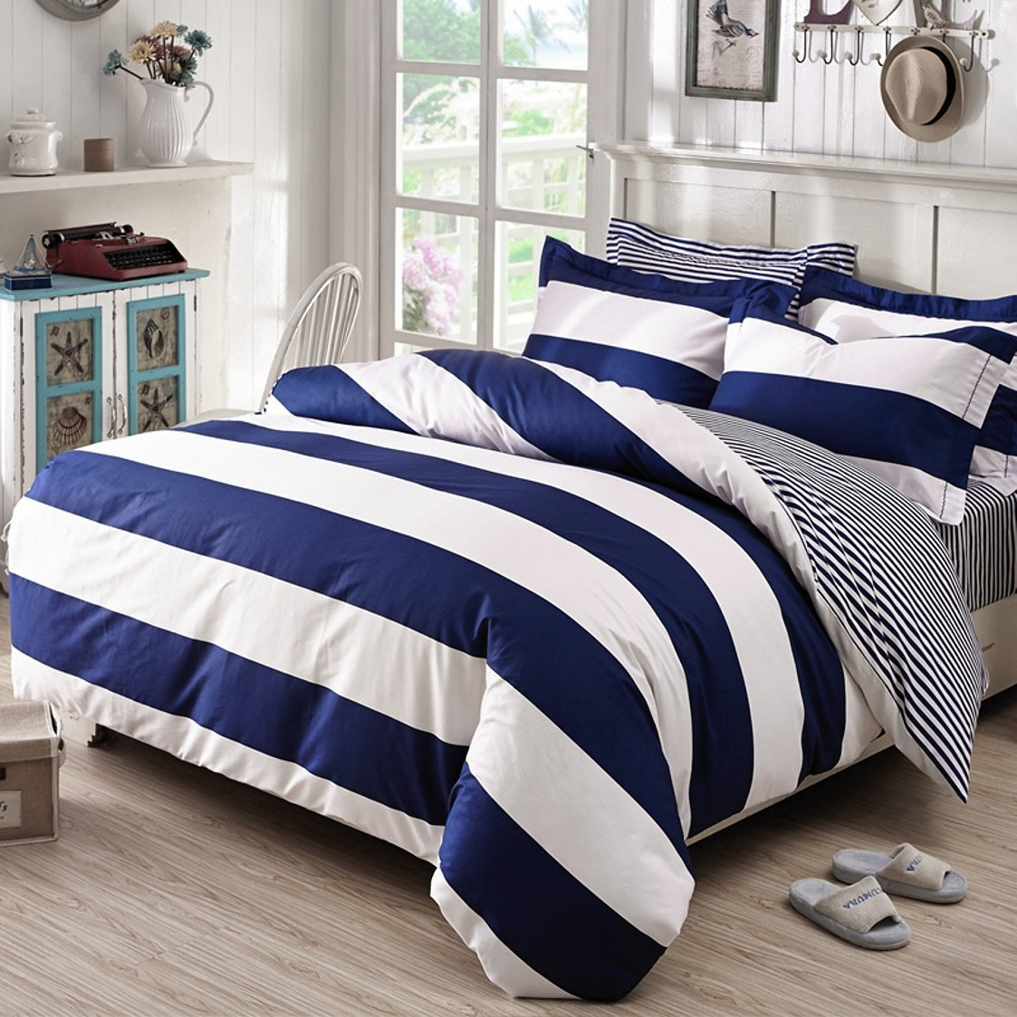 Buy Classic Cabana Rugby Stripe Print Duvet Cover 100 Cotton Bedding Set Modern Geometric Crisp White And Navy Blue Stripes Reversible Pattern Queen Navy Blue In Cheap Price On Alibaba Com