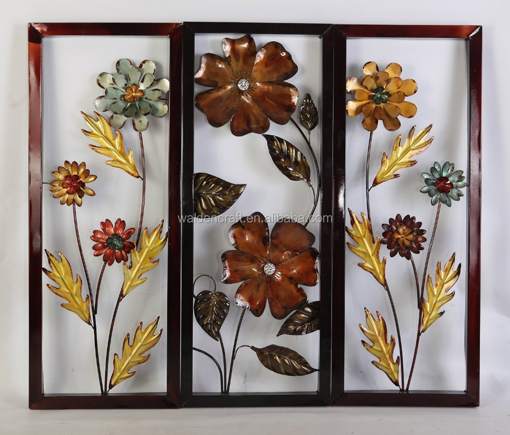 Metal Floral Wall Art For Home And Office Decor Framed Blue & Yellow ...