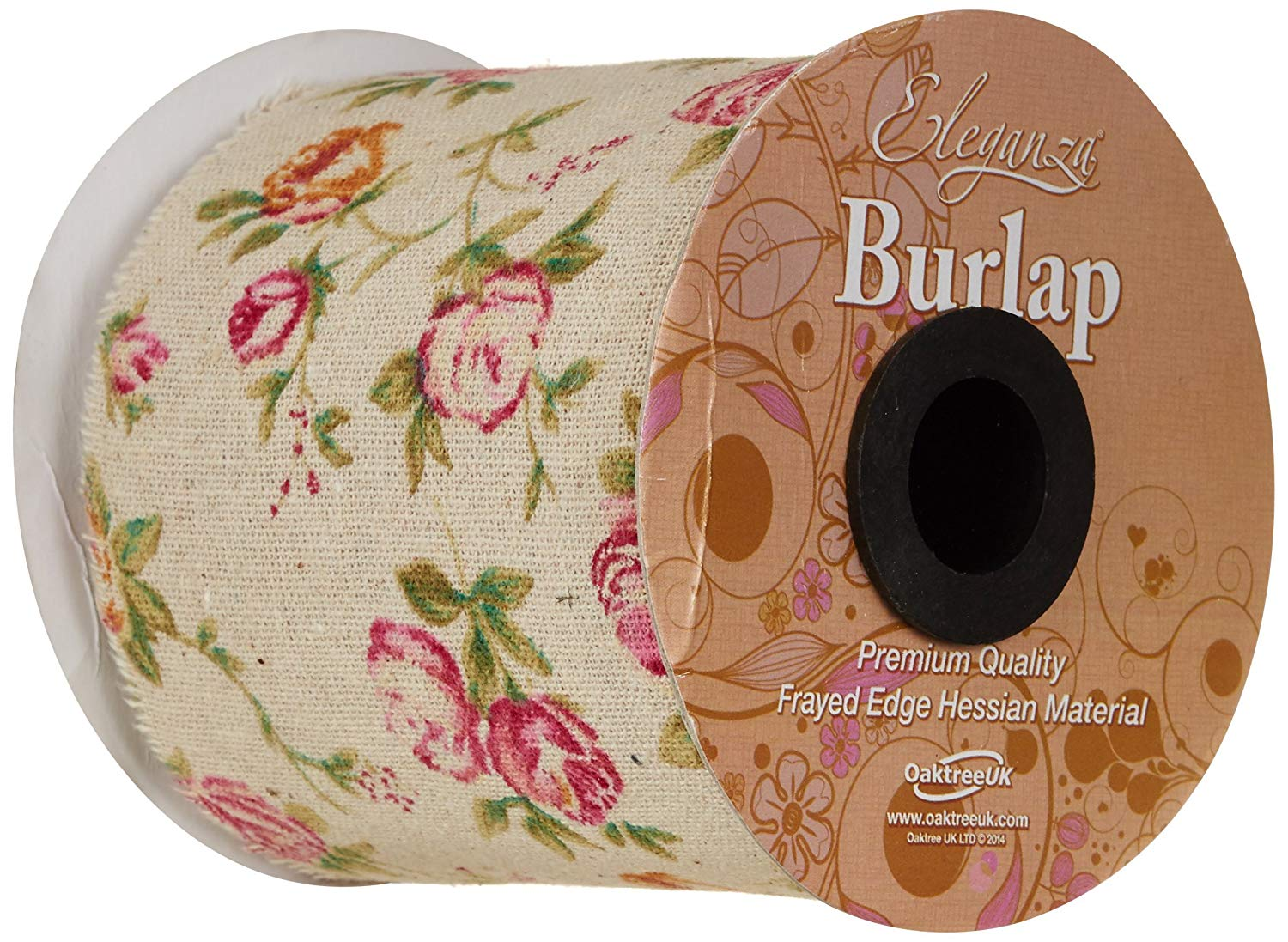 Burlap Frayed Edge Vintage Rose Inspired Ribbon 100mm x 1 Metre by Eleganza
